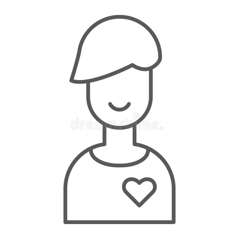 Chłopak cienka kreskowa ikona, samiec i romans, chłopiec znak, wektorowe grafika, liniowy wzór na białym tle ilustracji