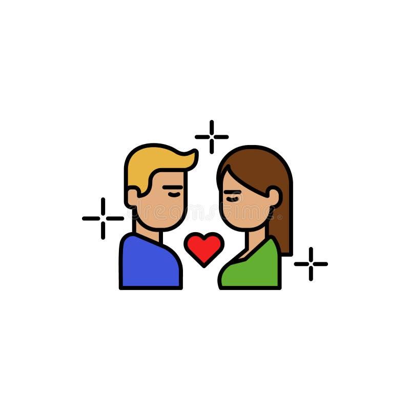 chłopak, dziewczyna, buziak, miłość koloru ikona Element kolor miłości znaki Premii ilości graficznego projekta ikona podpisz sym royalty ilustracja