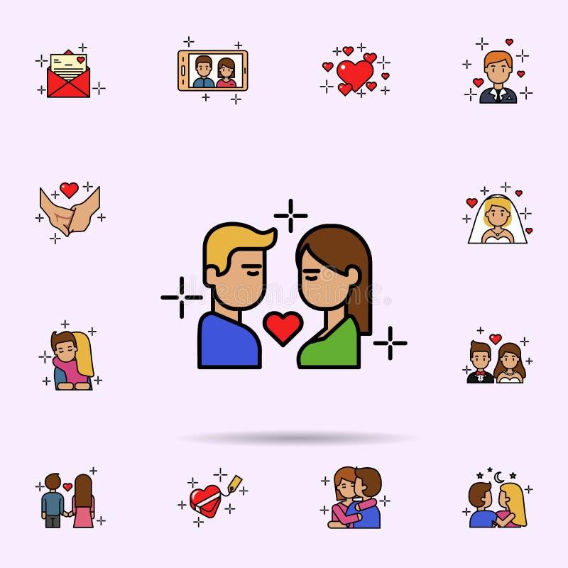 chłopak, dziewczyna, buziak, miłości ikona Og?lnoludzki ustawiaj?cy historia mi?osna dla strona internetowa projekta i rozwoju, a ilustracja wektor