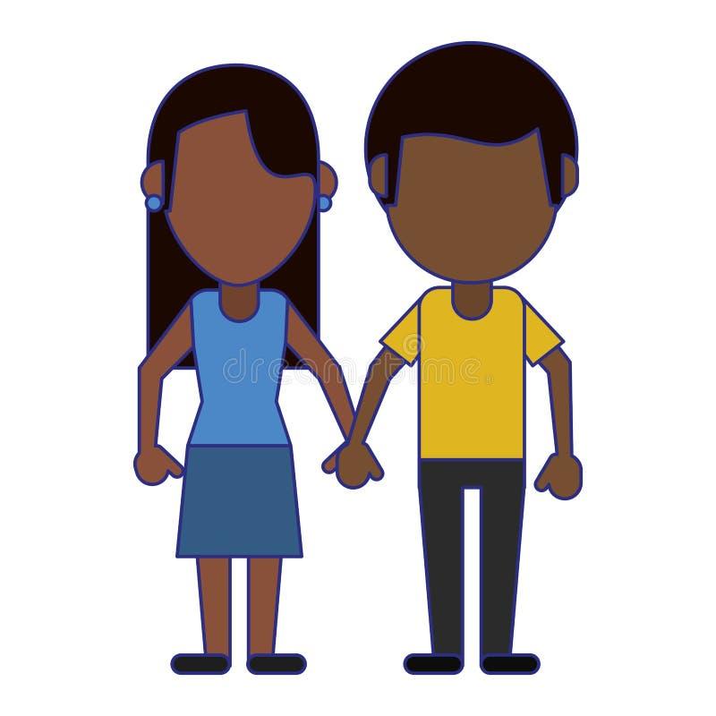 Chłopak i dziewczyny spinać ręk niebieskie linie ilustracji