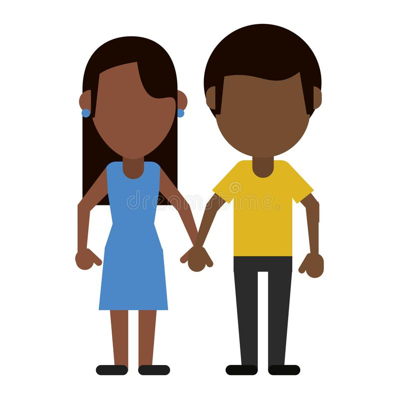 Chłopak i dziewczyny spinać ręki ilustracja wektor