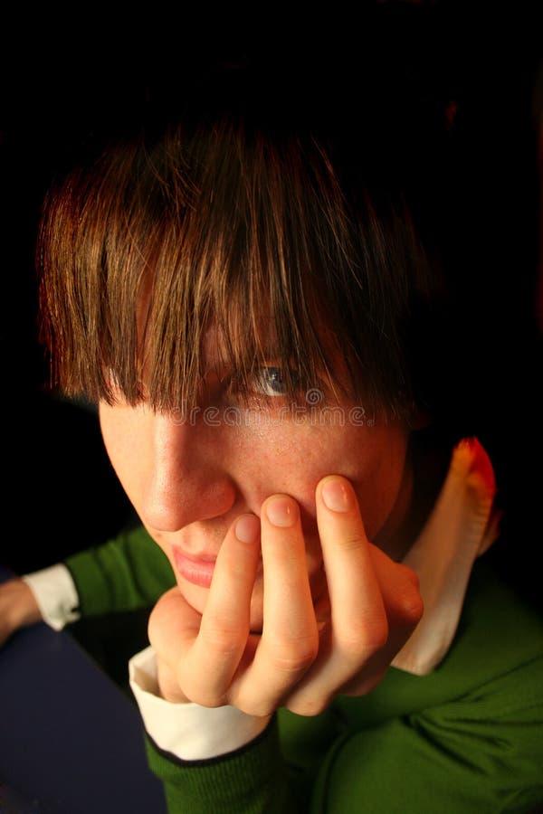 chłopak jest oczy fotografia stock