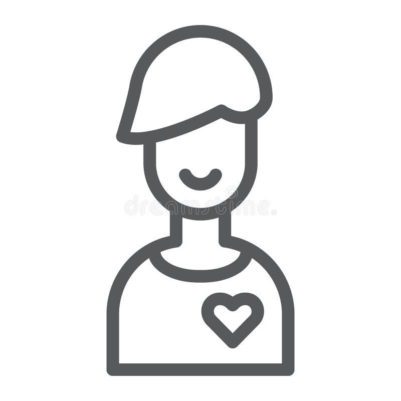 Chłopak kreskowa ikona, samiec i romans, chłopiec znak, wektorowe grafika, liniowy wzór na białym tle royalty ilustracja