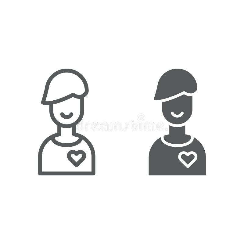 Chłopak linia, glif ikona, samiec i romans, chłopiec znak, wektorowe grafika, liniowy wzór na białym tle ilustracji