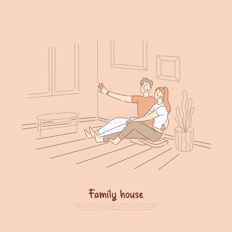 Chłopak mówi dziewczynie śmiesznej opowieści, mężczyzny i kobiety obsiadanie na żywy izbowy podłogowy ono uśmiecha się, śliczni p ilustracji