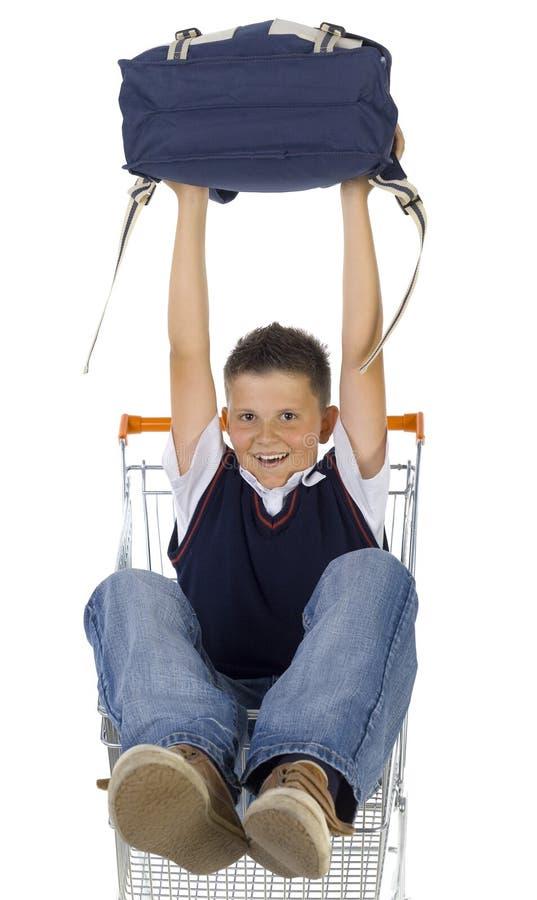chłopak w szkole wózka obraz stock