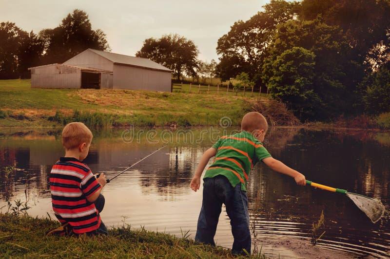 Chłopcy łowiący ryby z sieci i wędki zdjęcie royalty free