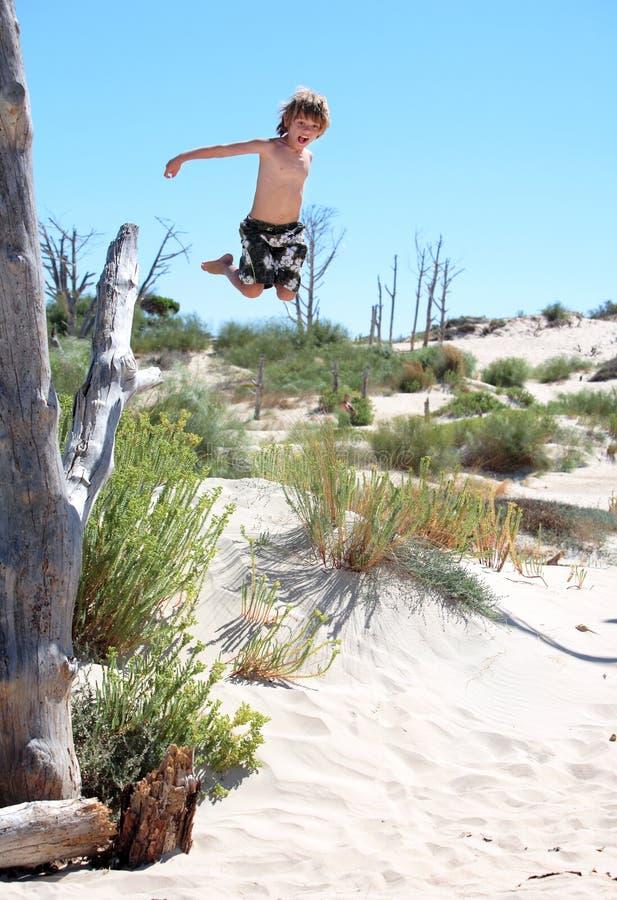 chłopcy aktywnej young, wyskoczył tree obraz royalty free