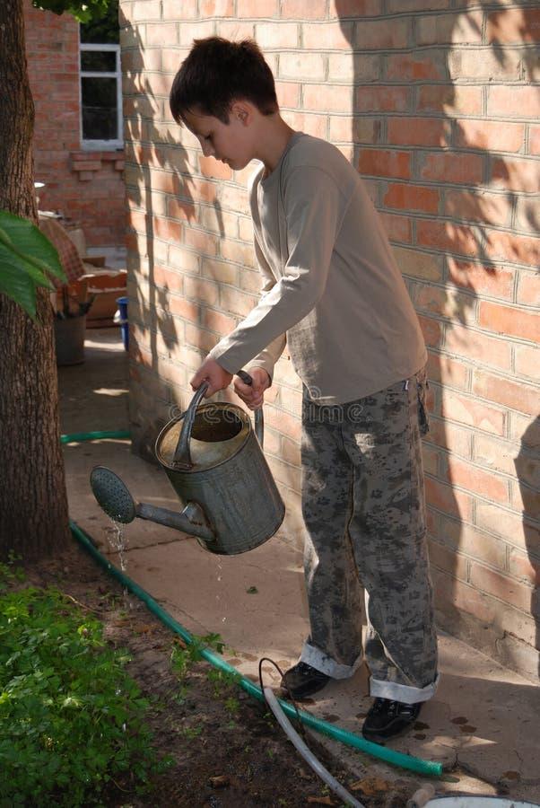 chłopcy brickwall przeciwko doniczki podlewaniu metali obraz stock