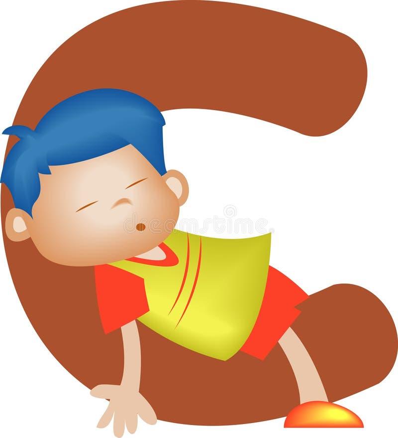 chłopcy c litera alfabetu ilustracji