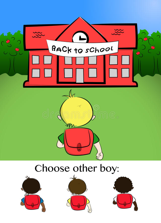 chłopcy chodzić do szkoły royalty ilustracja