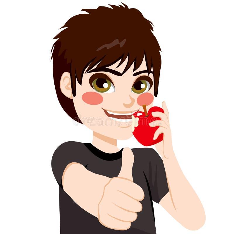 chłopcy jabłkowy jedzenie ilustracja wektor