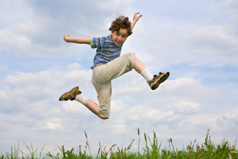 chłopcy jumping fotografia royalty free