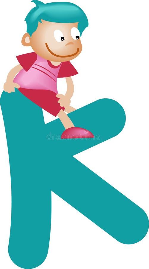 chłopcy k list alfabet ilustracja wektor