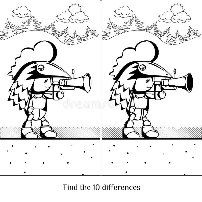 chłopcy kreskówka słodka Charakter z pistoletem Znaleziska dziesięć różnic vis ilustracji