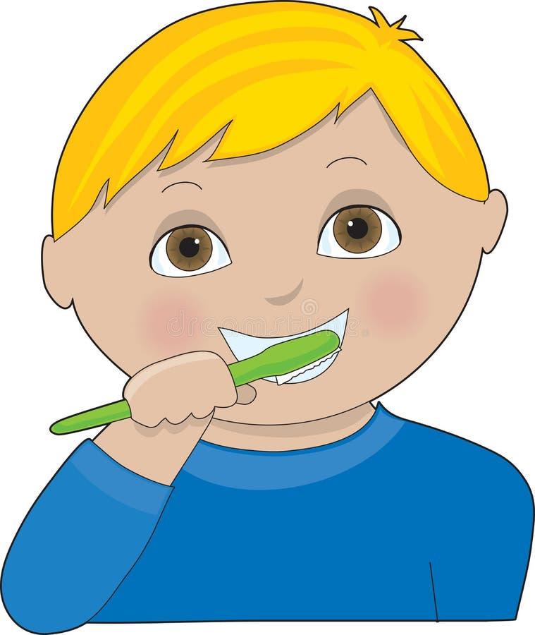 chłopcy myje zęby ilustracja wektor