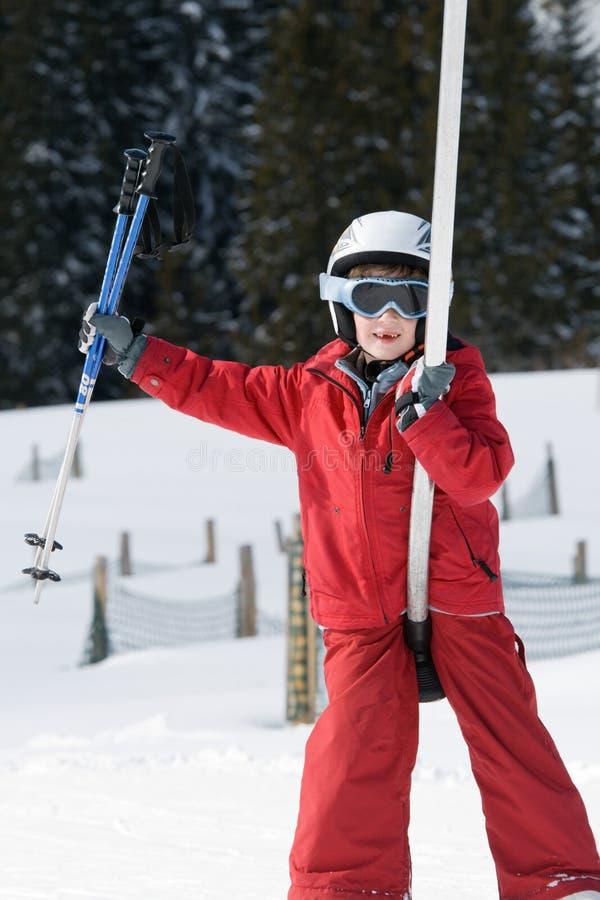 chłopcy ski dźwigów zdjęcie royalty free