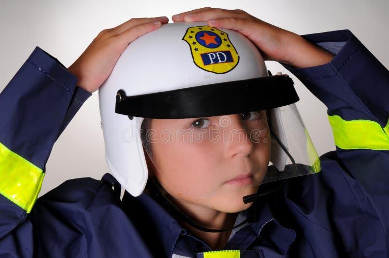 chłopcy stroju policjanta fotografia stock