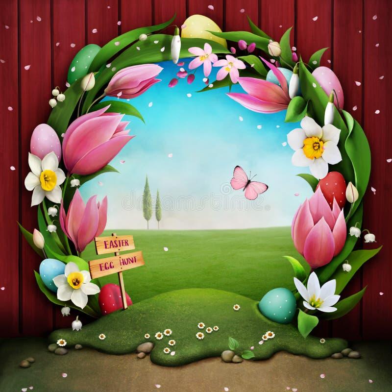 chłopcy tła Wielkanoc jajka miłych jaj trawy zielone świeżego ukryte hunt wyizolował poszukiwania white ilustracja wektor