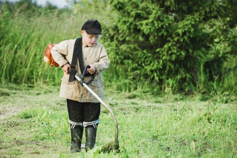 chłopcy trawę kośby young obrazy royalty free