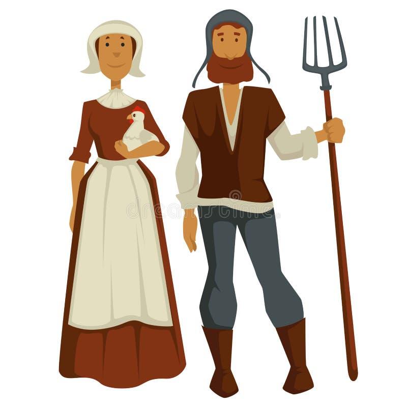 Chłopi domatorzy i kobieta Średniowieczni odosobneni charaktery royalty ilustracja