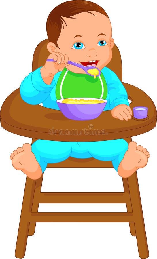 Chłopiec łasowania dziecka jedzenie ilustracja wektor