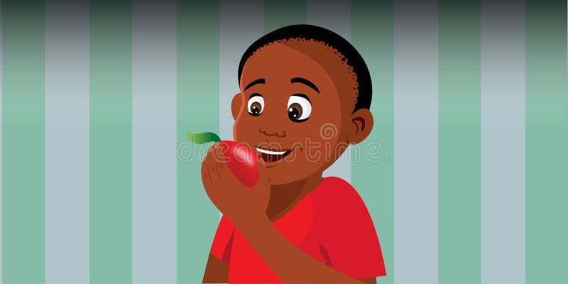 Chłopiec łasowania jabłko ilustracji