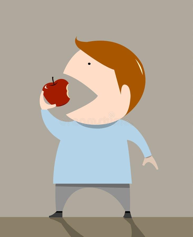 Chłopiec łasowania jabłko ilustracja wektor
