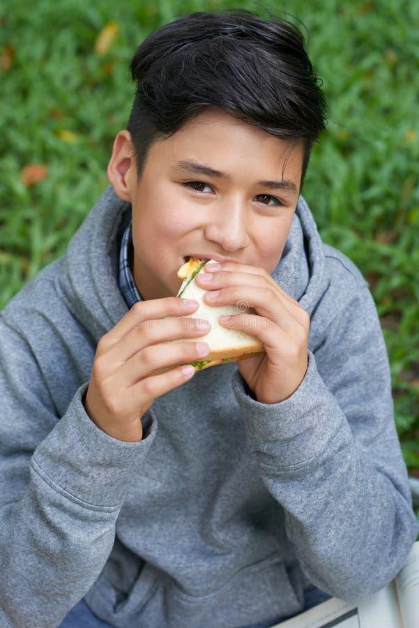 chłopiec łasowania kanapka nastoletnia fotografia stock
