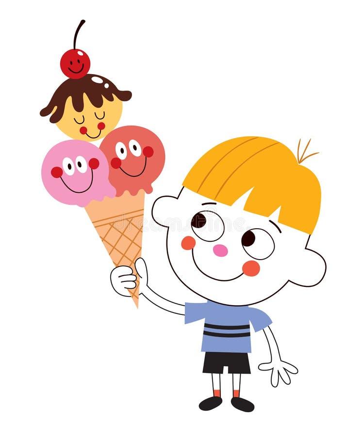 Chłopiec łasowania lody rożek royalty ilustracja