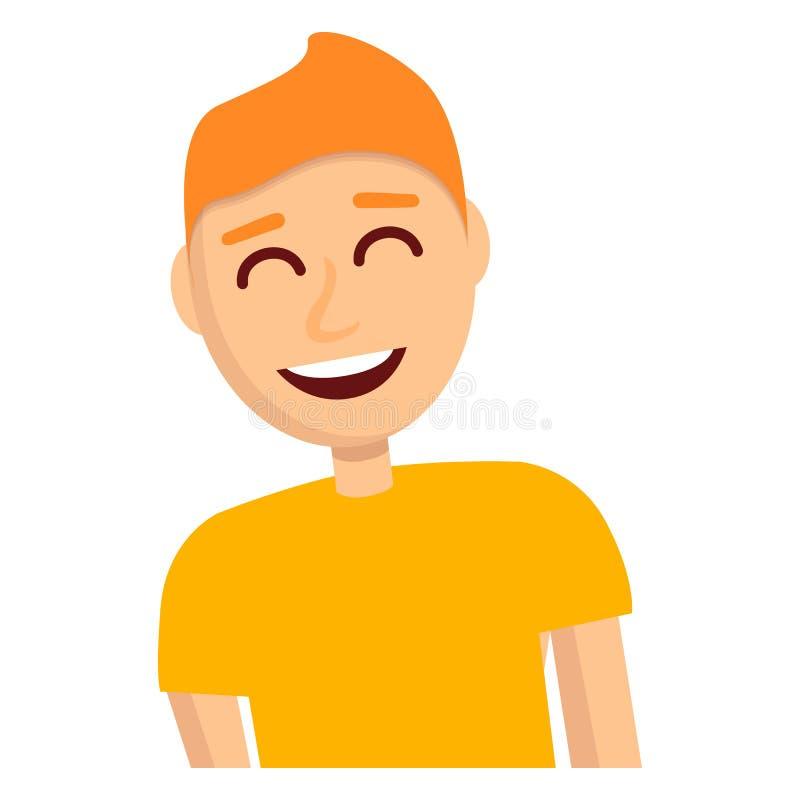 Chłopiec śmiechu ikona, kreskówka styl ilustracji