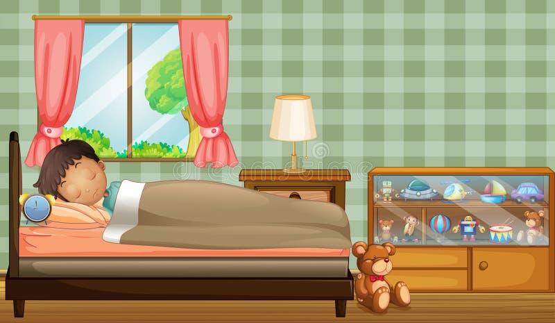 Chłopiec śpi mocno wśrodku jego pokoju royalty ilustracja