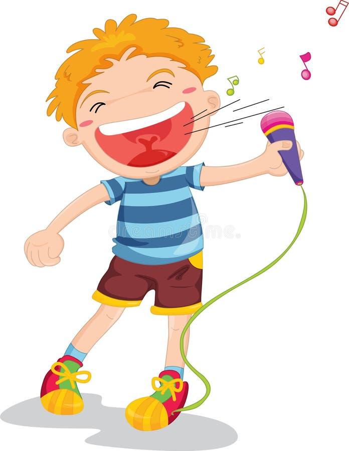 chłopiec śpiew ilustracja wektor
