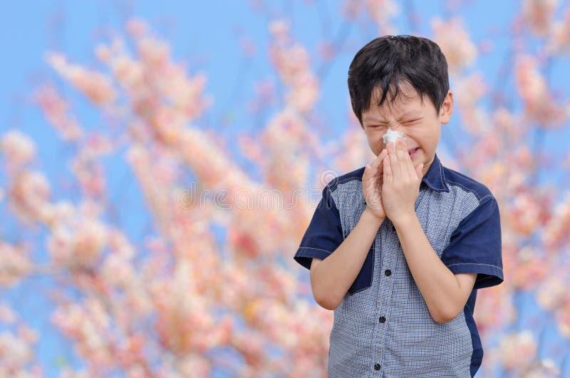 Chłopiec alergie od kwiatu pollen zdjęcie royalty free