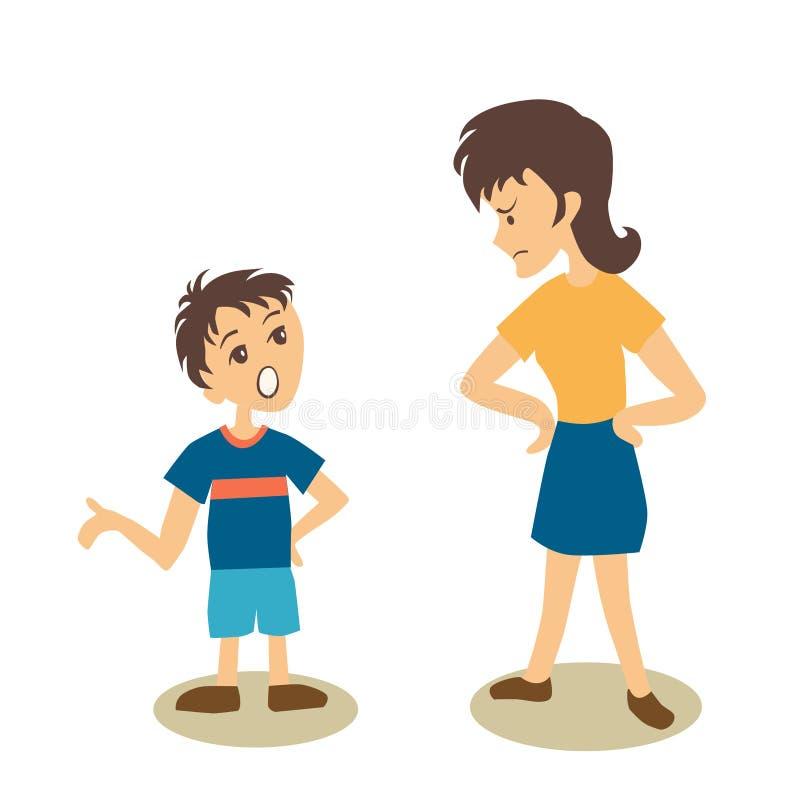 Chłopiec argumentowanie z macierzystą wektorową kreskówki ilustracją, ilustracji