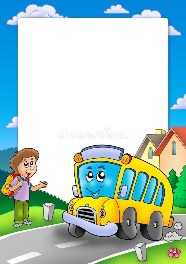 chłopiec autobusu ramy szkoła ilustracja wektor