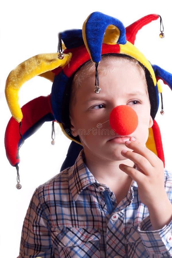 chłopiec błazenu kapeluszowy mały nos zdjęcia royalty free