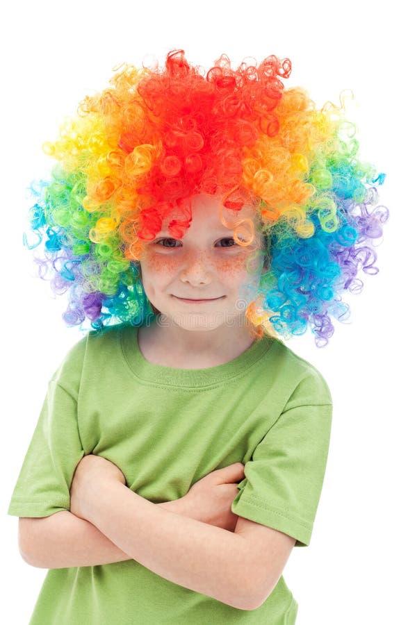 chłopiec błazenu kolorowy włosiany mały obrazy royalty free