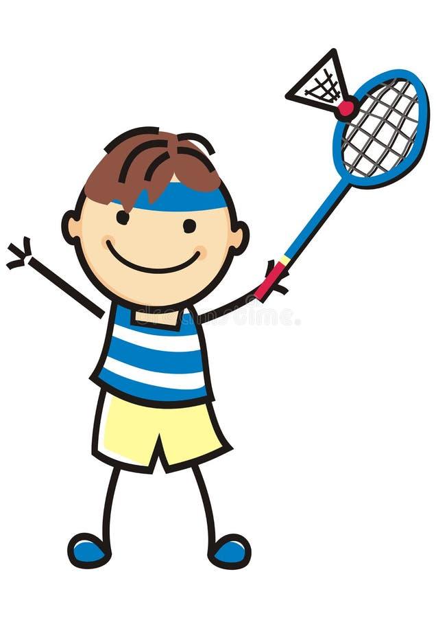 Chłopiec, badminton, pojedynczy gracz z kantem i piłka, ilustracji
