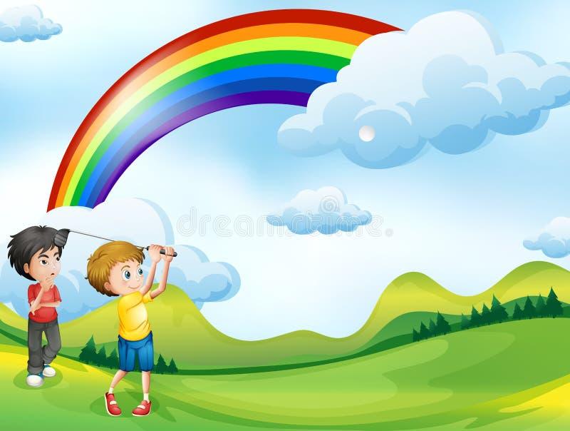 Chłopiec bawić się golfa w sądzie ilustracja wektor