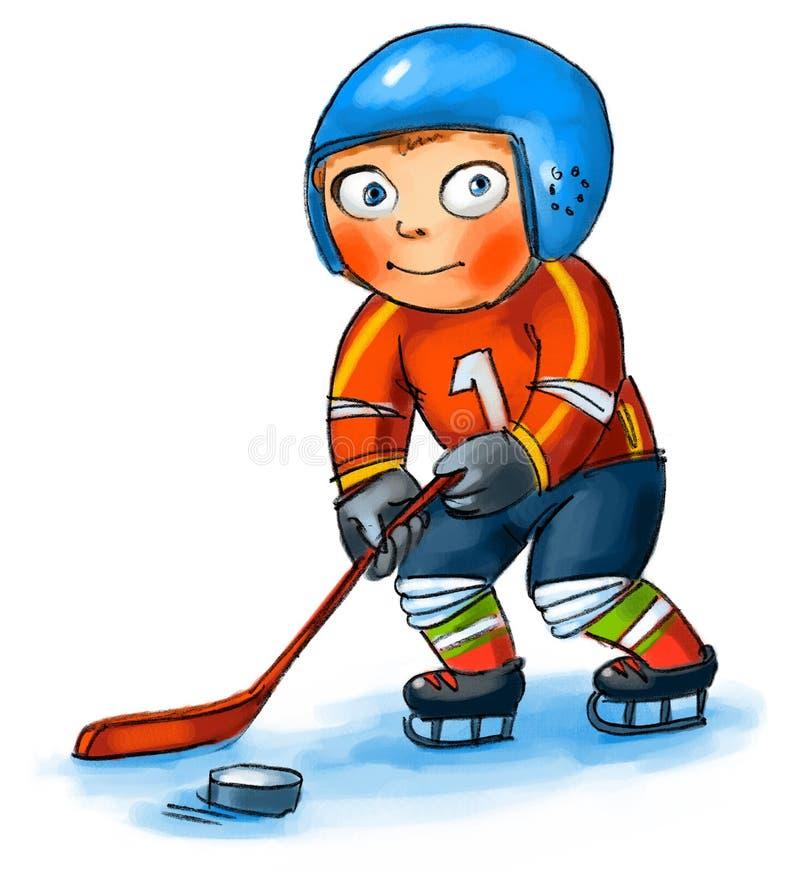 Chłopiec bawić się hokeja ilustracja wektor