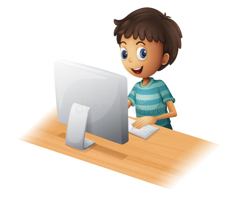 Chłopiec bawić się komputer royalty ilustracja
