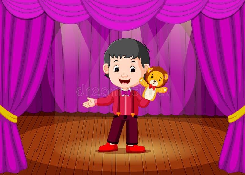 Chłopiec bawić się kukły w scenie ilustracja wektor