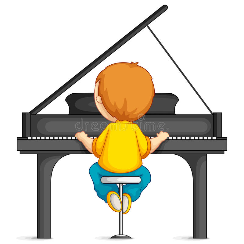 Chłopiec Bawić się Pianino ilustracja wektor