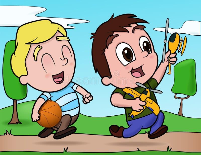 chłopiec bawić się szczęśliwy ilustracja wektor