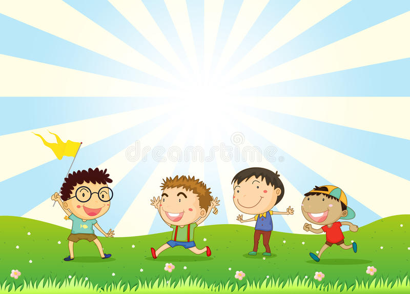 Chłopiec bawić się w wzgórzu ilustracja wektor