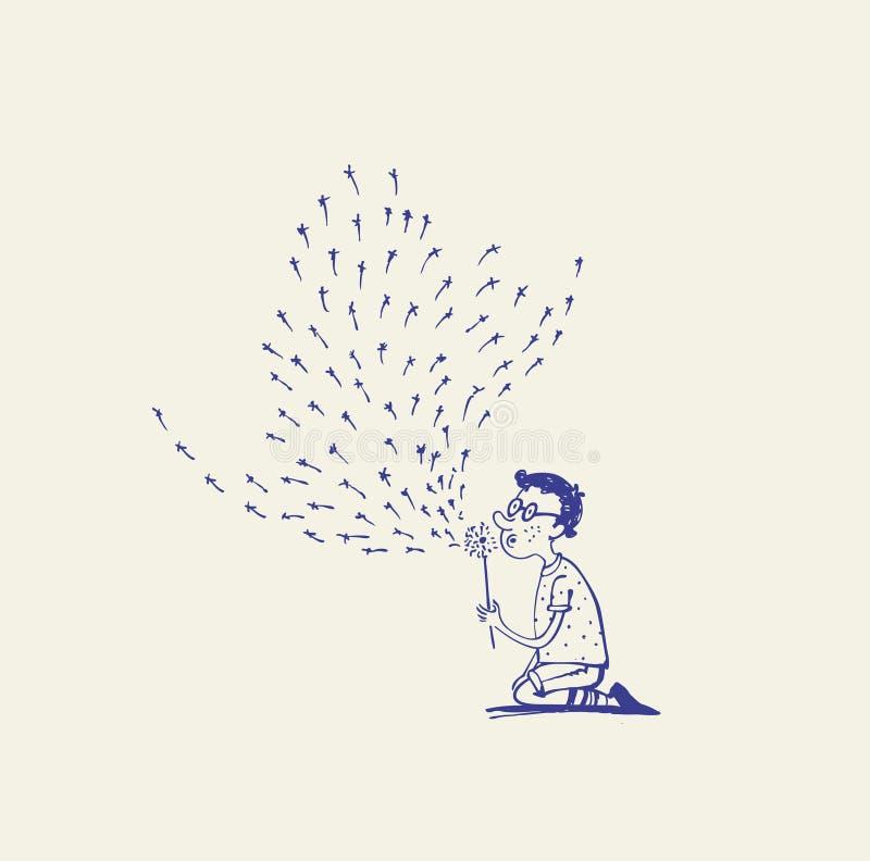 Chłopiec bawić się z dandelion ilustracji