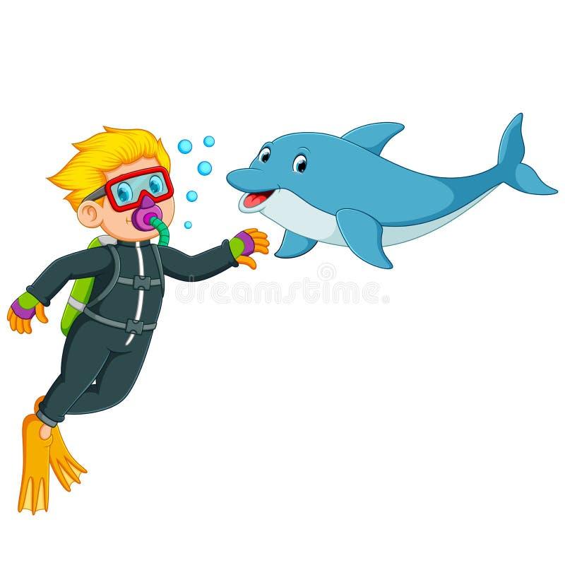 Chłopiec bawić się z delfinem pod wodą royalty ilustracja