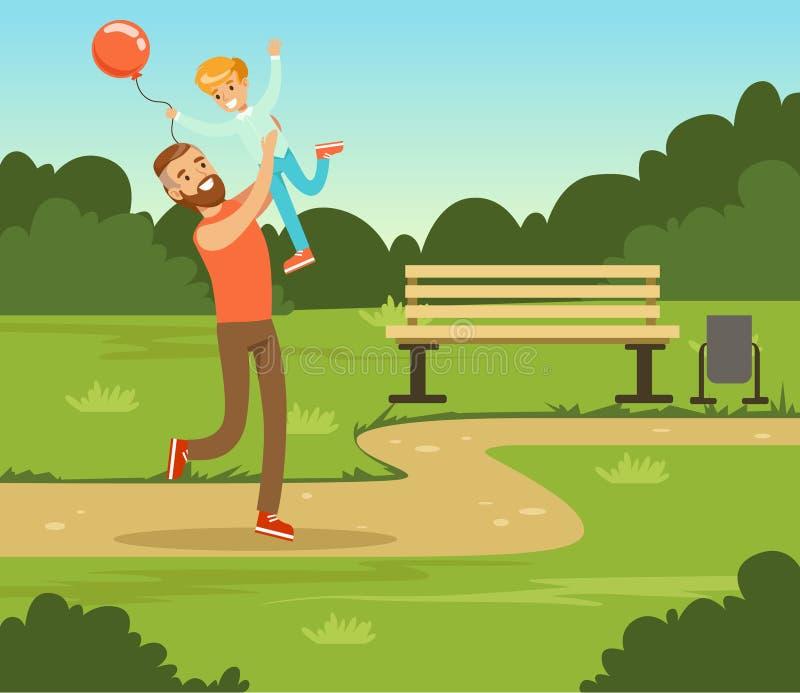 Chłopiec bawić się z jego ojcem outside w lato parku, tata i synem ma zabawę, wpólnie, rodzinna czasu wolnego wektoru ilustracja ilustracja wektor