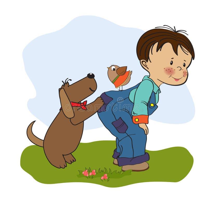 Chłopiec bawić się z jego psem ilustracja wektor